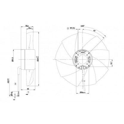Осевой вентилятор A1G250AH3752 A1G250-AH37-52