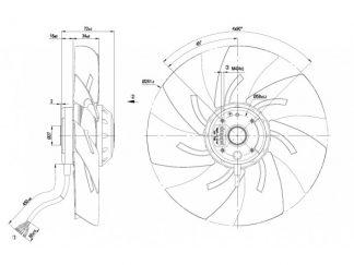 Осевой вентилятор A2D250AH0201 A2D250-AH02-01