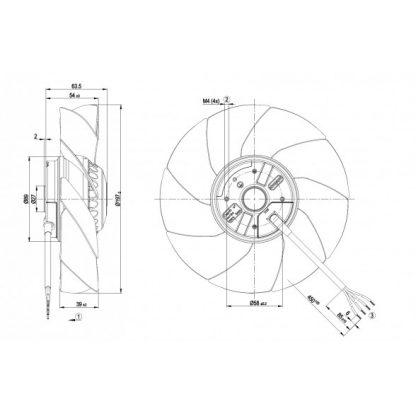 Осевой вентилятор A2E200AH3801 A2E200-AH38-01