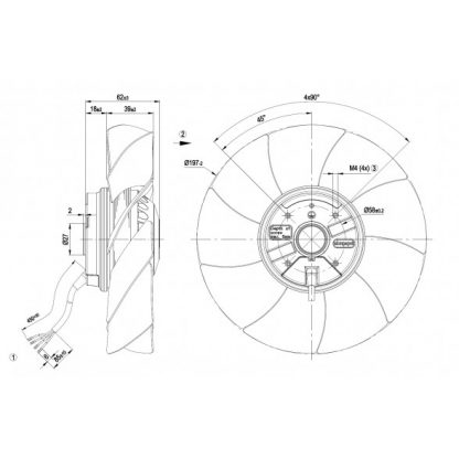 Осевой вентилятор A2E200AI3801 A2E200-AI38-01