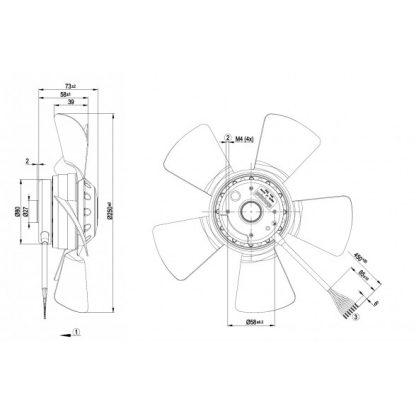 Осевой вентилятор A4D250AA3601 A4D250-AA36-01