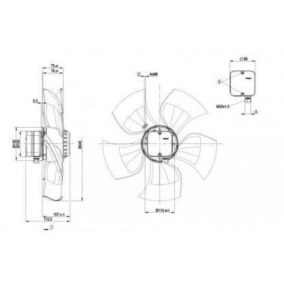 Осевой вентилятор A4D450AU0101 A4D450-AU01-01
