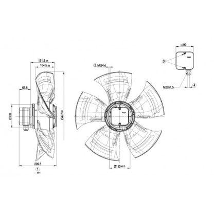 Осевой вентилятор A4D500AM0302 A4D500-AM03-02