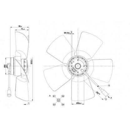 Осевой вентилятор A4E330AB1812 A4E330-AB18-12
