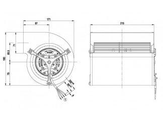 Центробежный вентилятор D1G133AB2952 D1G133-AB29-52