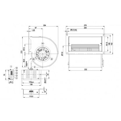 Центробежный вентилятор D1G133DC5516 D1G133-DC55-16