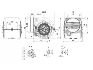 Центробежный вентилятор D1G146HS0104 D1G146-HS01-04