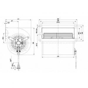Центробежный вентилятор D2D133AB0211 D2D133-AB02-11