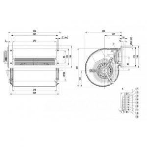 Центробежный вентилятор D2D160BE0214 D2D160-BE02-14