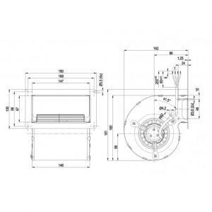 Центробежный вентилятор D2E097BK6648 D2E097-BK66-48
