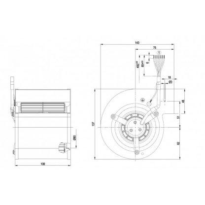 Центробежный вентилятор D2E097CB0109 D2E097-CB01-09