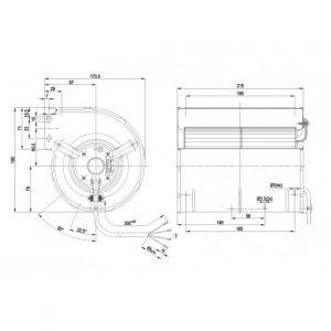 Центробежный вентилятор D2E133AM4765 D2E133-AM47-65