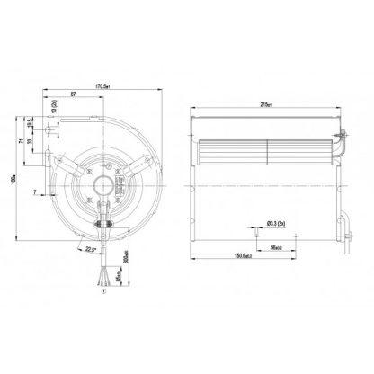 Центробежный вентилятор D2E133AM52C2 D2E133-AM52-C2