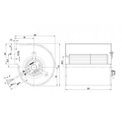 Центробежный вентилятор D2E133DM4701 D2E133-DM47-01