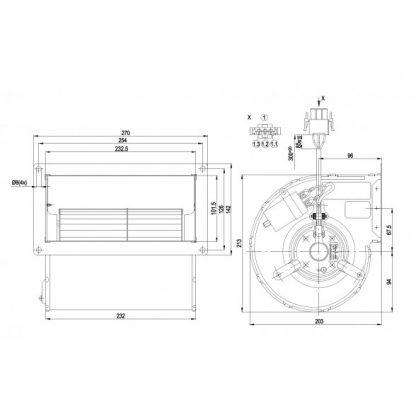 Центробежный вентилятор D2E133DM47D5 D2E133-DM47-D5
