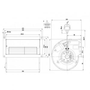 Центробежный вентилятор D2E133DM52D4 D2E133-DM52-D4