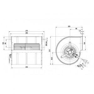Центробежный вентилятор D2E133DM64I5 D2E133-DM64-I5