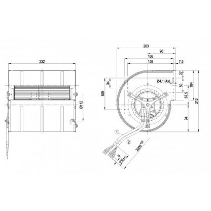 Центробежный вентилятор D3G133DD6714 D3G133-DD67-14