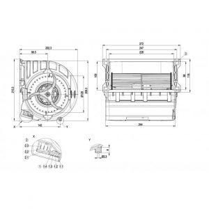 Центробежный вентилятор D3G146LU0330 D3G146-LU03-30