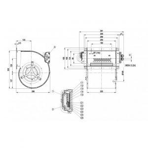 Центробежный вентилятор D3G180HE0902 D3G180-HE09-02
