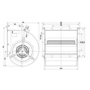 Центробежный вентилятор D4D225GH0201 D4D225-GH02-01