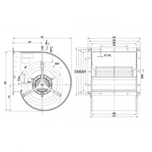 Центробежный вентилятор D4D250CA0201 D4D250-CA02-01