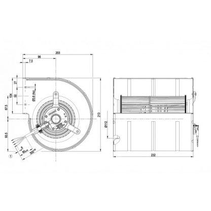 Центробежный вентилятор D4E133DL01H9 D4E133-DL01-H9