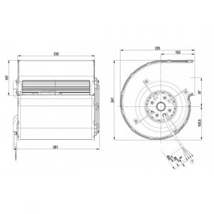 Центробежный вентилятор D4E160EG0605 D4E160-EG06-05