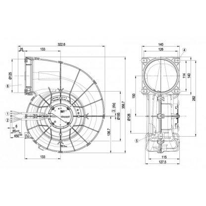Центробежный вентилятор G3G190RG1901 G3G190-RG19-01