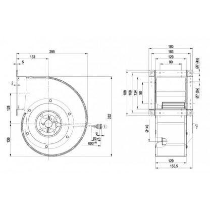 Центробежный вентилятор G4D180FF2001 G4D180-FF20-01