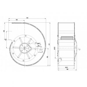 Центробежный вентилятор G4D200CL1223 G4D200-CL12-23