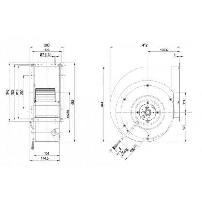 Центробежный вентилятор G4D280AI0306 G4D280-AI03-06