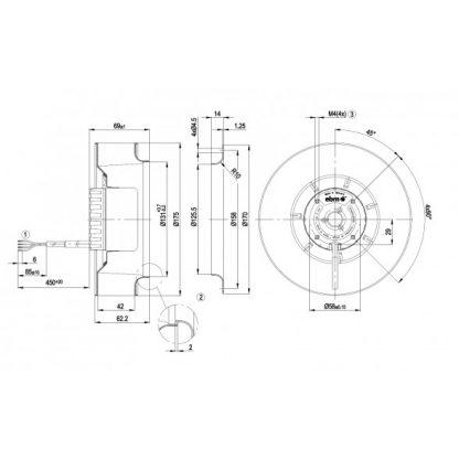 Центробежный вентилятор R1G175AB6302 R1G175-AB63-02