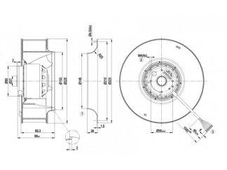 Центробежный вентилятор R2D225AV0221 R2D225-AV02-21