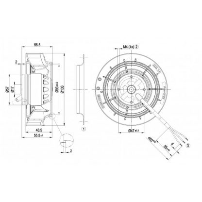 Центробежный вентилятор R2E133RA0301 R2E133-RA03-01