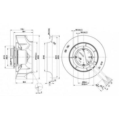 Центробежный вентилятор R3G225RH1901 R3G225-RH19-01