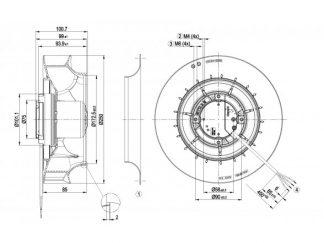 Центробежный вентилятор R3G250RE0705 R3G250-RE07-05