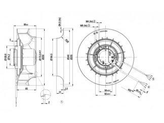 Центробежный вентилятор R3G250RE0707 R3G250-RE07-07