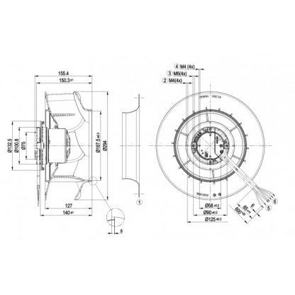 Центробежный вентилятор R3G280RB0203 R3G280-RB02-03