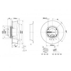 Центробежный вентилятор R3G310AJ3861 R3G310-AJ38-61