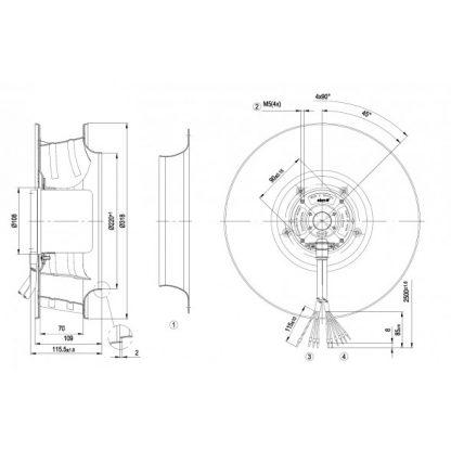Центробежный вентилятор R3G310AN4646 R3G310-AN46-46