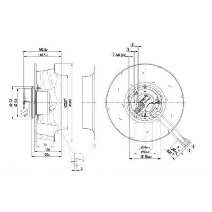 Центробежный вентилятор R3G310AO5201 R3G310-AO52-01