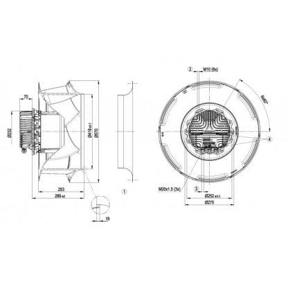 Центробежный вентилятор R3G560RB3171 R3G560-RB31-71