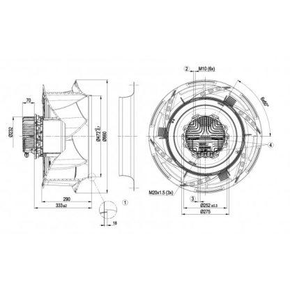 Центробежный вентилятор R3G630RB3271 R3G630-RB32-71