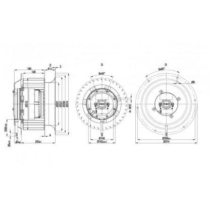 Центробежный вентилятор R4D310CK0301 R4D310-CK03-01