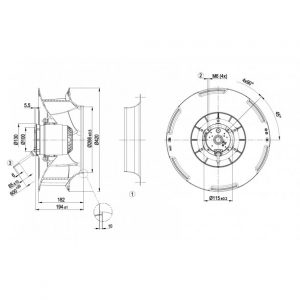 Центробежный вентилятор R4D400RO2201 R4D400-RO22-01