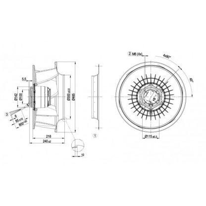 Центробежный вентилятор R4D450RH0101 R4D450-RH01-01