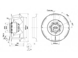 Центробежный вентилятор R4D560RB0301 R4D560-RB03-01