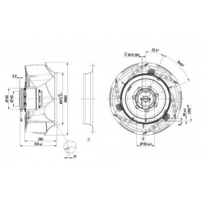 Центробежный вентилятор R4D630RB1501 R4D630-RB15-01