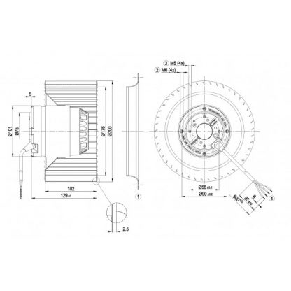 Центробежный вентилятор R4E200AL0305 R4E200-AL03-05